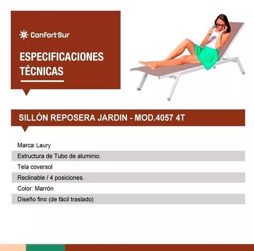 sillón reposera jardin aluminio textileno 4 pos 40574 #6