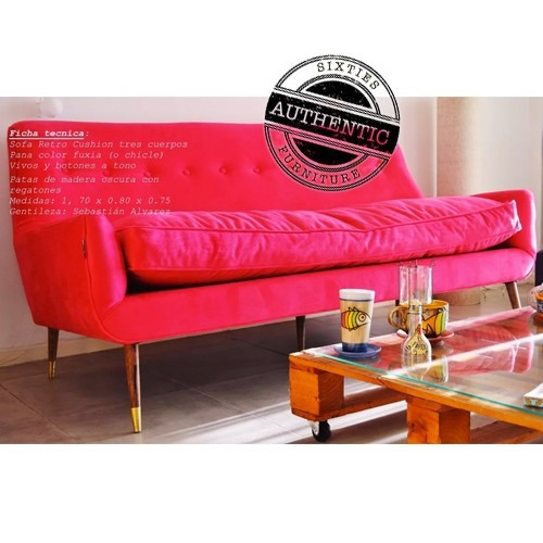 sillon retro cushion tres cuerpos con almohadon - unico