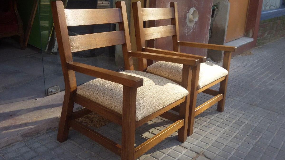 Sillon silla butaca le ero living comedor madera y for Sillas butacas comedor