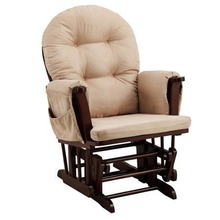 sillon silla mecedora con descansa pies espresso beige babyr