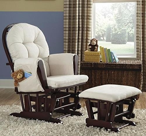sillon silla mecedora con descansa pies storkcraft  cherry