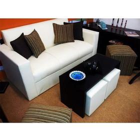 Sillón Sofa 3 Lugares Minimalista Mesa Y 2 Puff !
