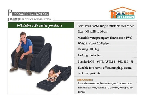 sillón sofa cama sencillo inflable intex