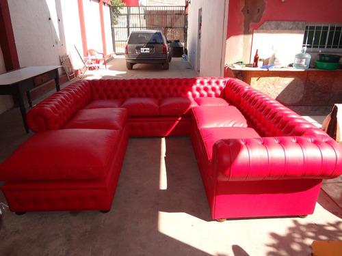 sillon sofa chester chesterfield esquinero doble roj ferrari