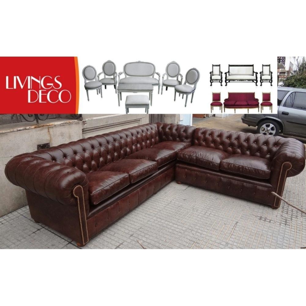 sillon sofa chester chesterfield esquinero rinconero cuero - Sillones Chester