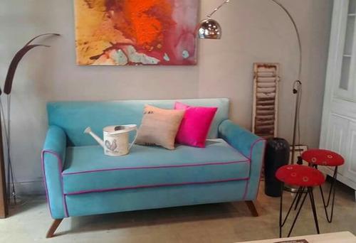 sillon sofá escandinavo 2 dos cuerpos pana premium garantía
