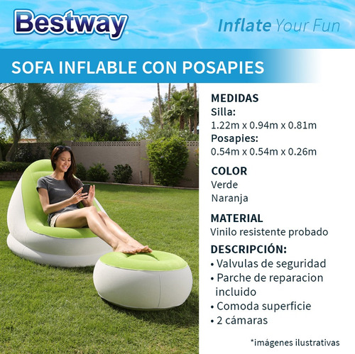 sillon sofa inflable con posapies bestway