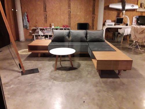 sillon sofa living moderno madera tela pana con vivos 2