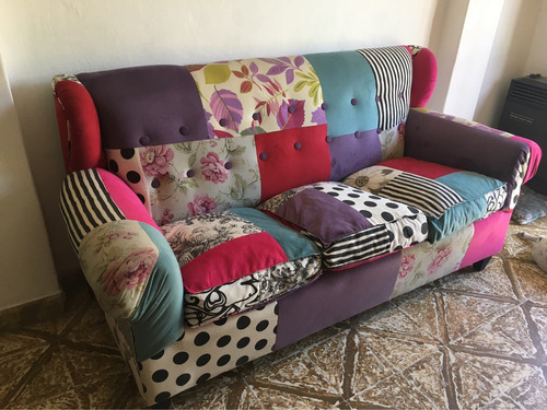 sillon tipo chesterfiled patchwork 3 cuerpos