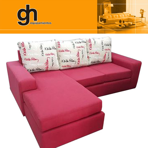 sillones chaise, sofa con isla, juego living minimalista.