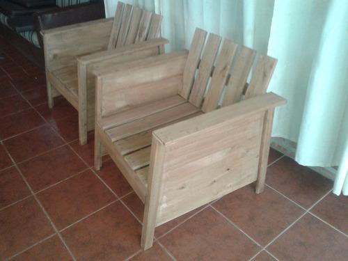 Sillones de madera maza interior y exterior for Sillones de madera para exterior
