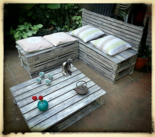 sillones en pallet reciclado rústico laqueado