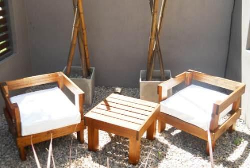 sillones exterior madera muebles jardin