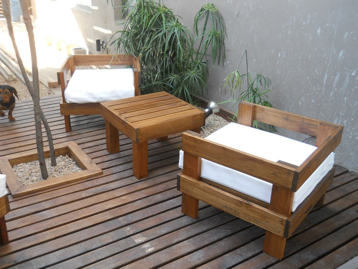Sillones Ideal Balcon Exterior Madera Muebles Jardin 5 040  # Muebles Exterior