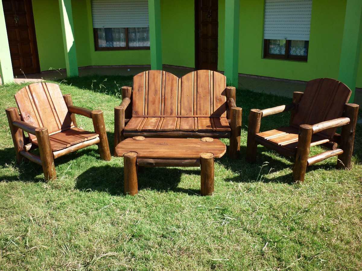 Sillones madera tratada para exterior en mercado libre for Juegos de jardin rusticos