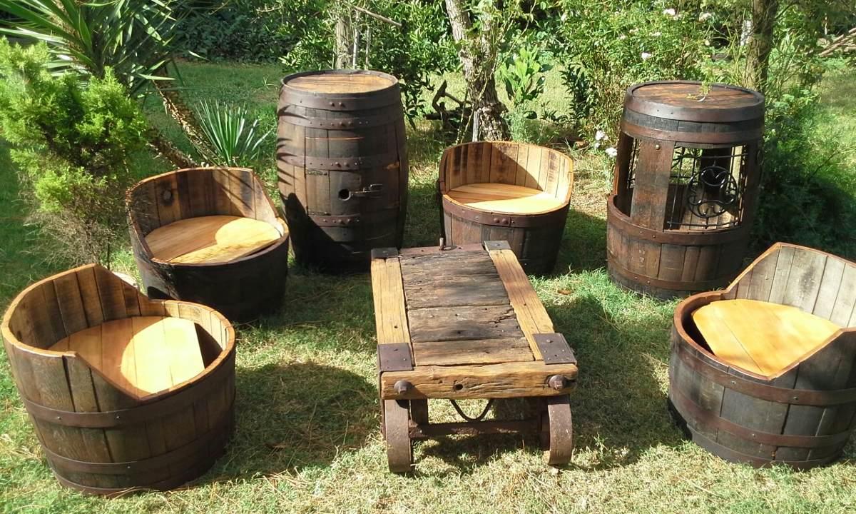 Sillones y muebles rusticos con barril de roble for Muebles de roble precios