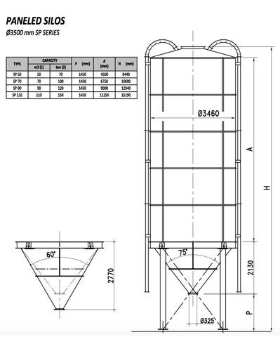 silo fijo para cemento 110m3, italiano, marca scutti sp 110