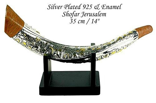silver plated giant shofar gold jerusalem enamel with stand
