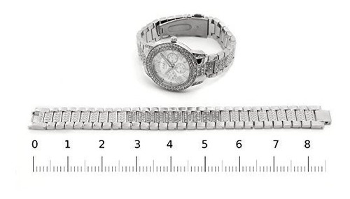 silver - reloj ice bling watch with clear stones reloj para