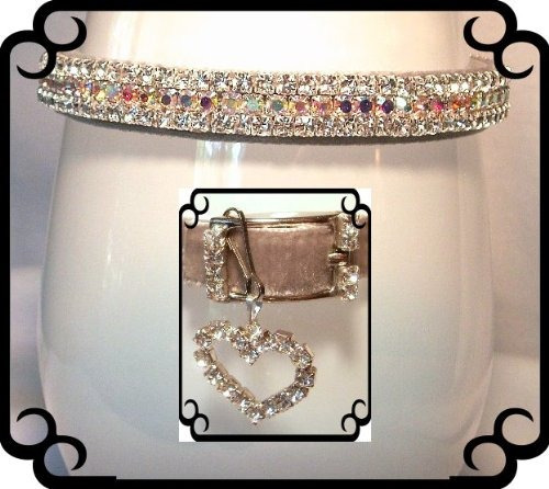 ~silver velvet aurora sparkle~rhinestone dog cat pet collar