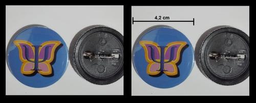 símbolo psicología botón gancho o llavero 4,2 cm. mariposa