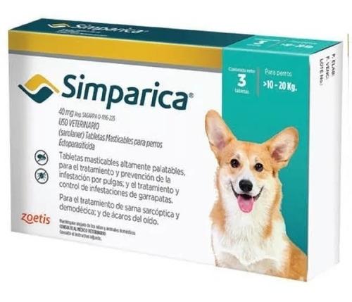 simparica 40mg 3 tabletas 10-20kg sarna acaros pulgas garrap