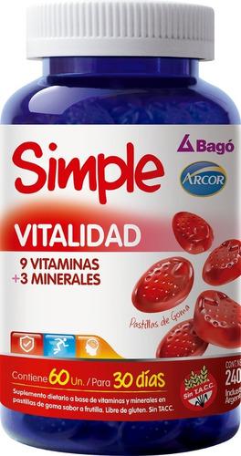 simple bago vitalidad minerales vitaminas 60 pastillas goma