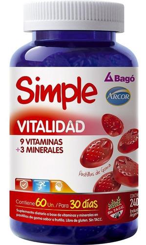 simple vitalidad 60 pastillas vitaminas minerales bago arcor