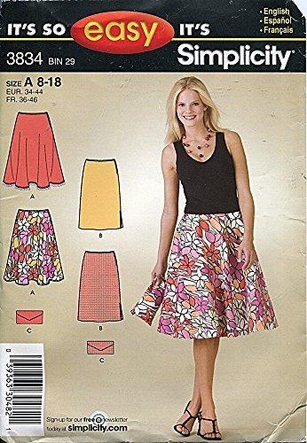 simplicity pattern 3834 y faldas de mujer (tallas purse, tam
