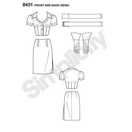 simplicity pattern 8431 h5 tallas dc comics bombshell negro