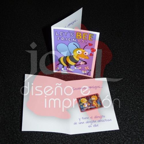 simpsons let's bee friends - tarjeta san valentín amor amigo
