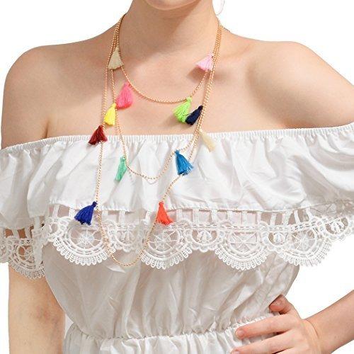 f5b1455f16f6 Simsly Collar Largo Con Colgante Borla Multicolor Para Mujer ...