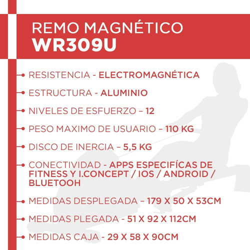 simulador de remo randers 309 plegable profesional magnetico