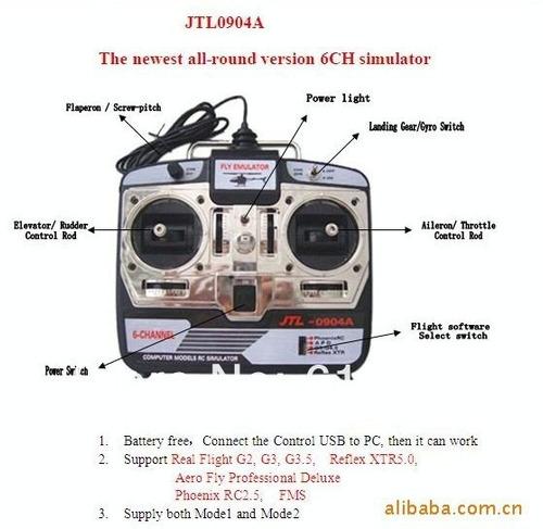 simulador de vôo 6 canais avião helicoptero jtl0904a usb