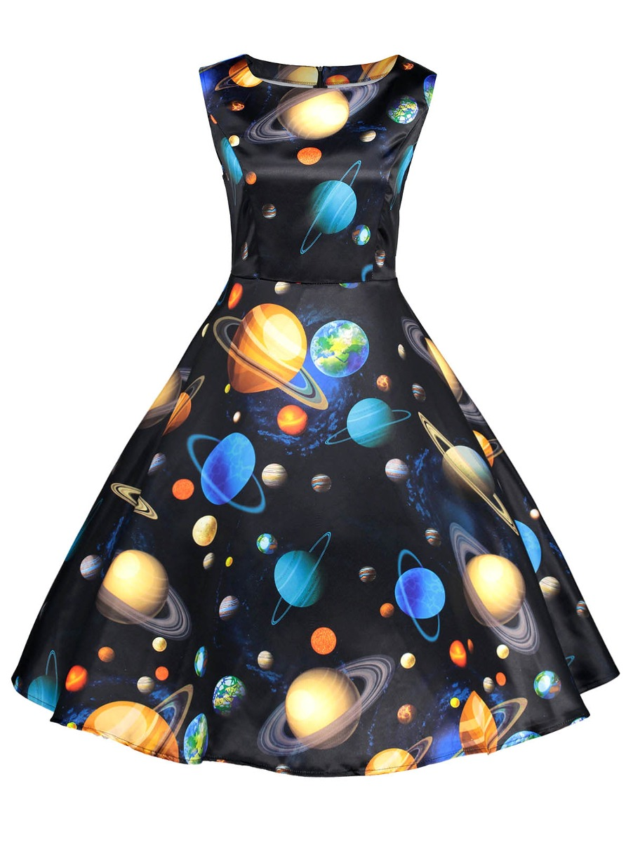 Y Planetas Sin Mangas Impresión Llamarada Vestido Fit gvb7mIfY6y