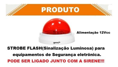 sinalização visual para alarme strobe flash genno 12v