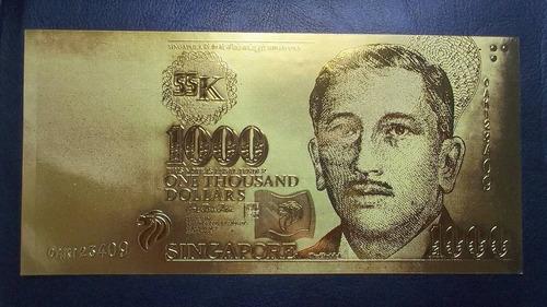 singapur, 1000 dolares (hoja de oro 24k)