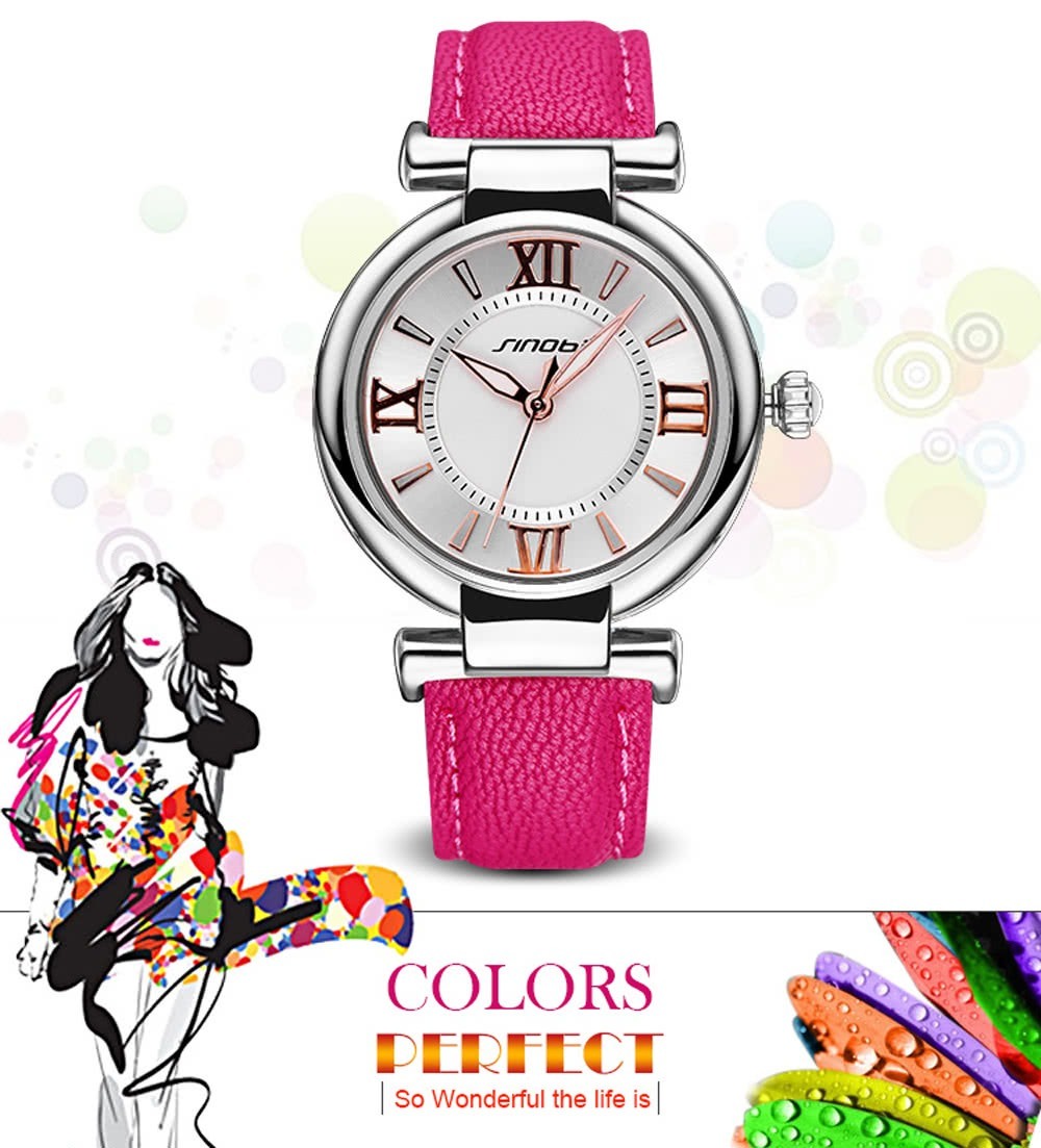 Sinobi Superior Marca Nuevo Lujo Cuero Mujeres Reloj # 4