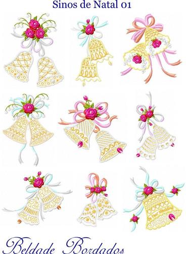 sinos de natal 01 - coleção de matriz de bordado