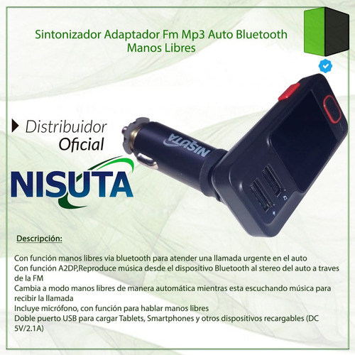 sintonizador adaptador fm mp3 auto bluetooth manos libres
