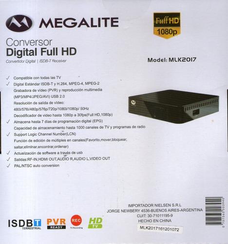 sintonizador deco tv digital tda marca megalite - nuevo
