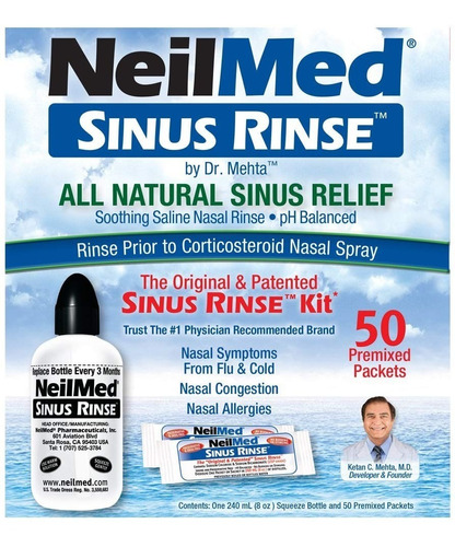 sinusite neilmed sinus rinse kit com 1 bisnaga + 50  packets