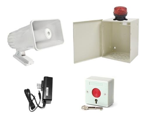 sirena alarma vecinal 30w exterior gabinete boton de panico