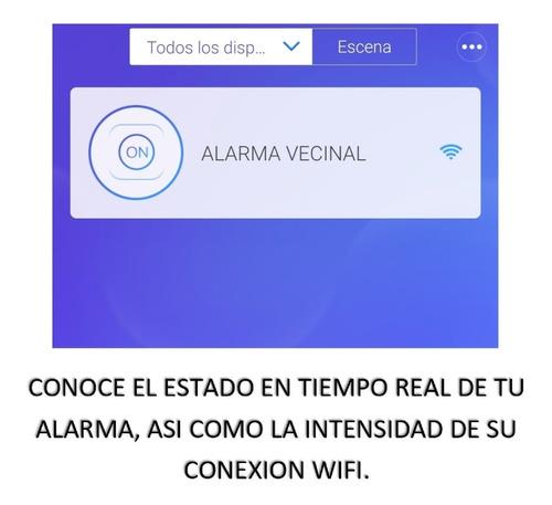sirena alarma vecinal wifi 30w con luz estrobo 120 db