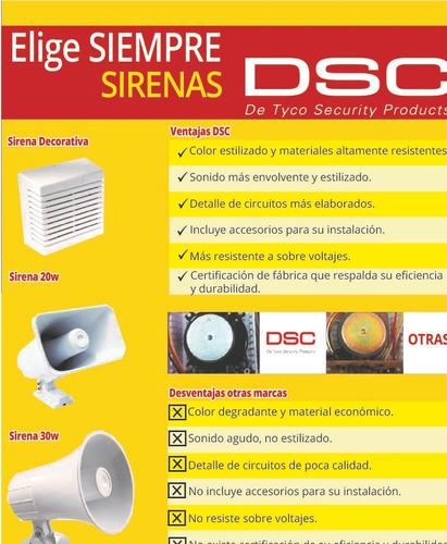 sirena dsc 30watts doble tono para sistemas de alarma