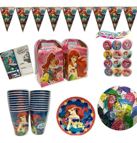 sirenita arts fiesta globos o platos o dulceros o vasos