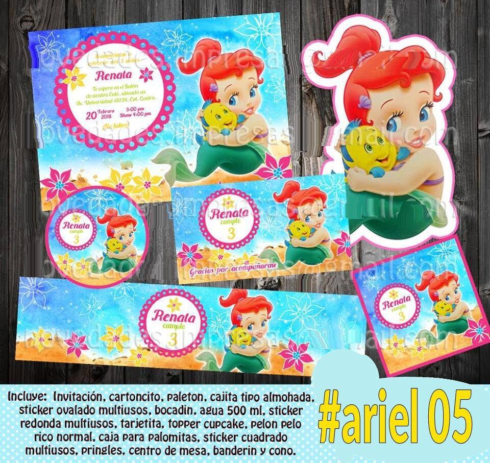 Sirenita Bebe Etiquetas Invitacion Decoracion Fiesta Ariel