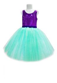 Sirenita Gala Niña Vestido Tutus Disfraz