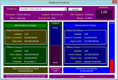 sistema administrativo importador control inventarios excel