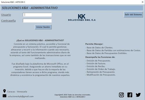 sistema administrativo / presupuesto y facturación / excel
